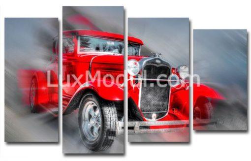 Красная-ретро-машина-(89х147см)