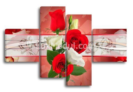 Красные-и-белые-розы(89х135см)