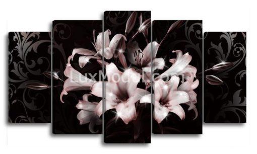 Белые-лилии-на-черном-(89х157см)