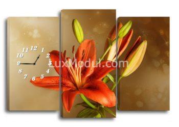 Модульная картина - часы лилия