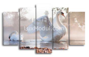 Модульная картина - Лебеди на пруду
