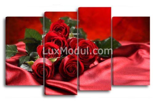 Розы-на-красном-шелке(89х145см)