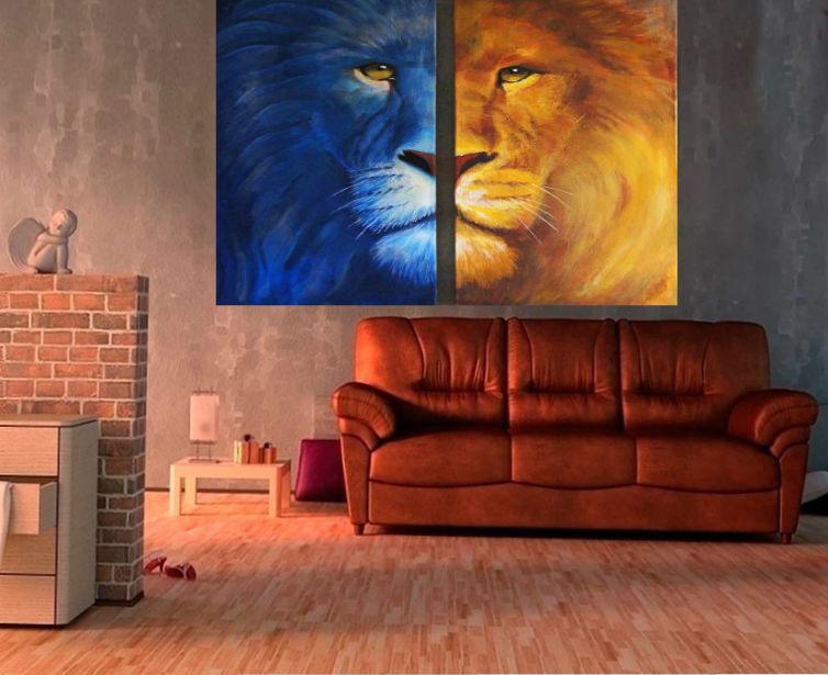 модульная картина диптих в гостиной