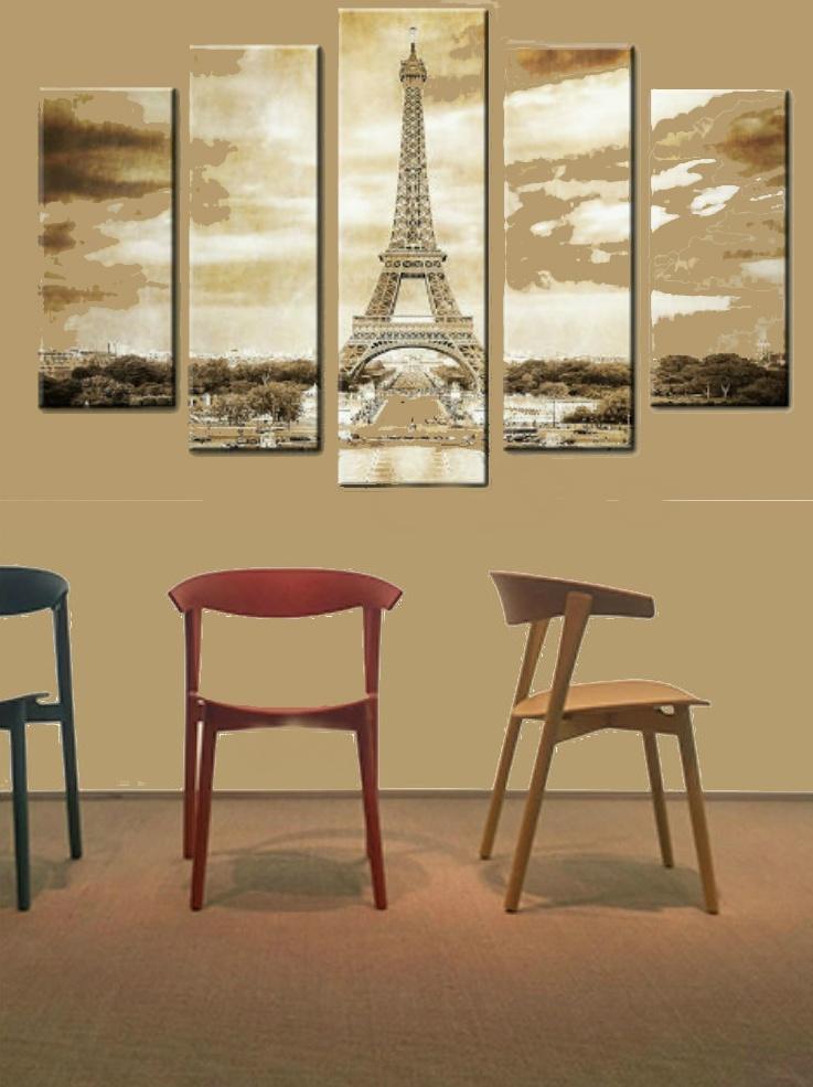 модульная картина Париж в интерьере