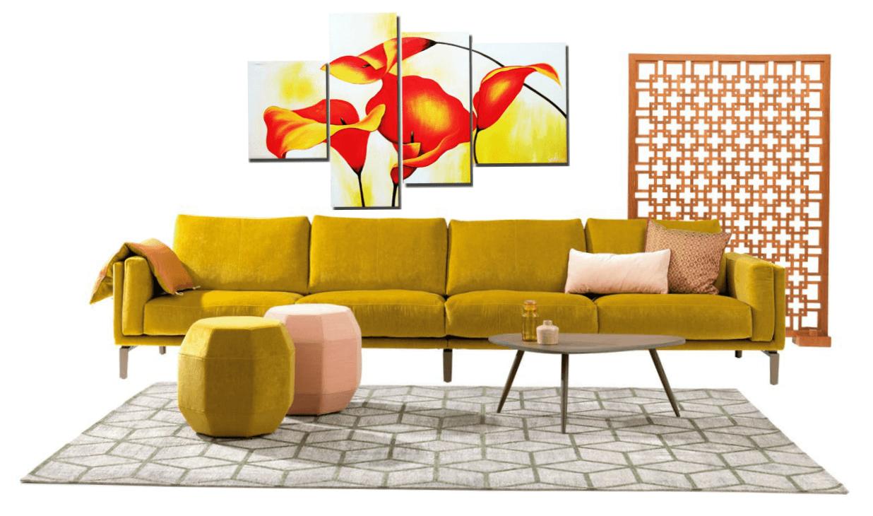 модульная картина с изображением цветка в интерьере