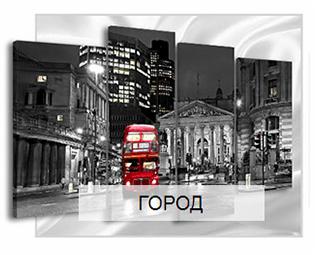 картина красный автобус в лондоне