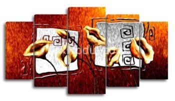 Модульная картина 5 частей абстракция букет нарисованный без часов
