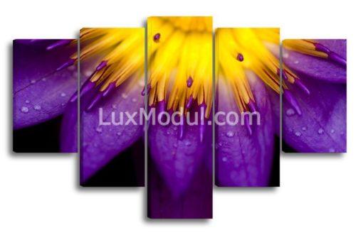 модульная картина 5 частей цветок фиолетовый крупный