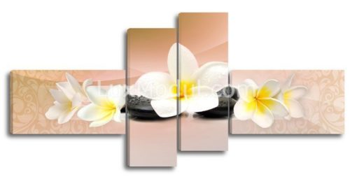 Полиптих модульная картина 4 части, цветок франжипани плюмерия