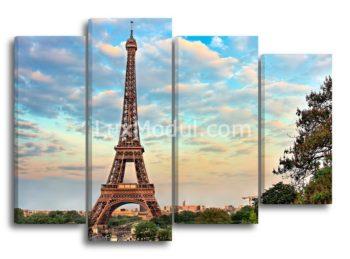 Модульная картина без часов полиптих «Эйфелева башня в небо» из 4 частей – фото