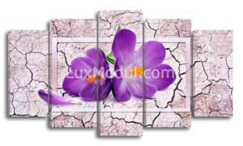 Модульная картина 5 частей цветы крокусы - фото