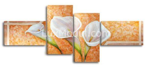 Полиптих модульная картина 4 части, цветы каллы рисунок