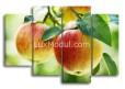 Модульная картина без часов на кухню «Спелые яблоки на ветках» из 4 модулей - Полиптих