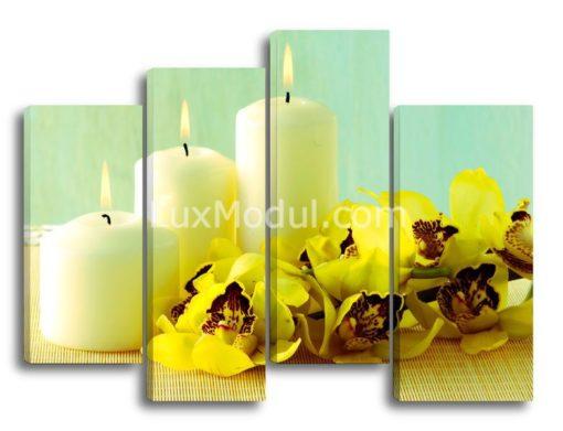 модульная картина из 4 частей - полиптих - цветы: жёлтые орхидеи