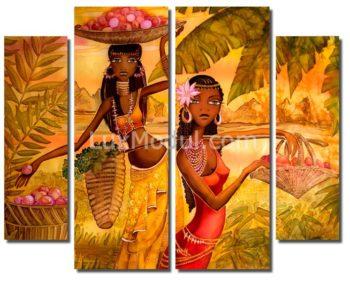 Полиптих модульная картина 4 части «Сбор урожая» — фото