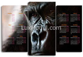 Триптих модульная картина 3 части, горилла животные, календарь на любой год