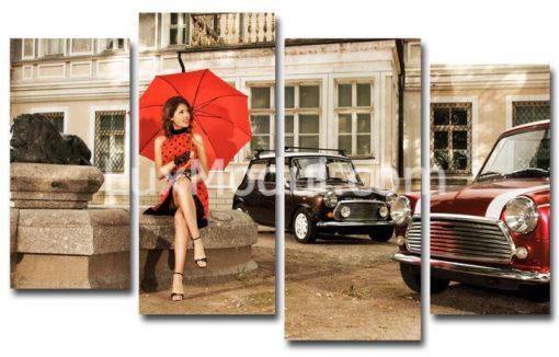 модульная картина Красный зонтик ретро