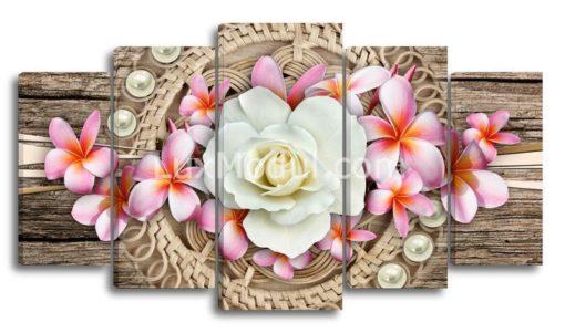 Белая-роза-и-плюмерии-(89х160см)