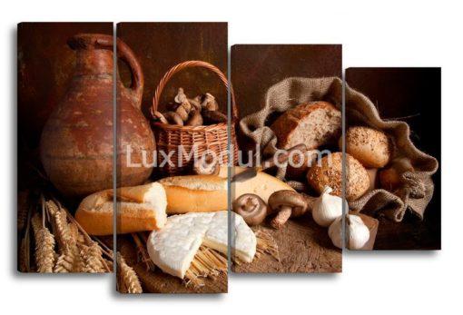 Для кухни из 4 частей модульная картина полиптих деревенский завтрак - фото
