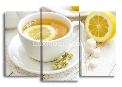 Для кухни модульная картина триптих чашка чая - фото