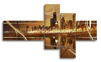 Полиптих модульная картина из 4 частей «город Чикаго» - фото