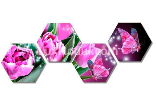 модульная картина полиптих шестиугольники цветы тюльпаны фото