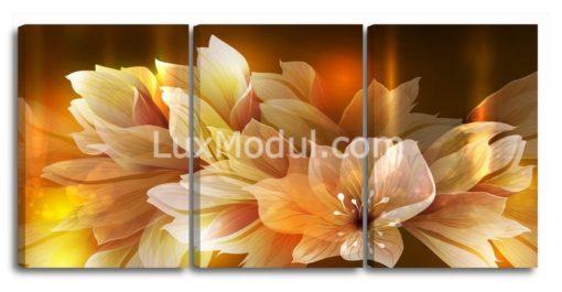 Модульная картина без часов «Цветок» 3 части – Триптих