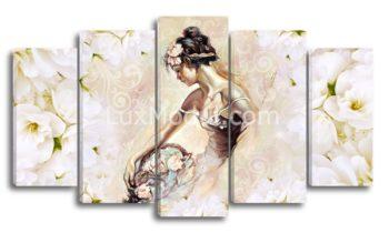 Модульная картина 5 частей девушка с корзиной цветов фото