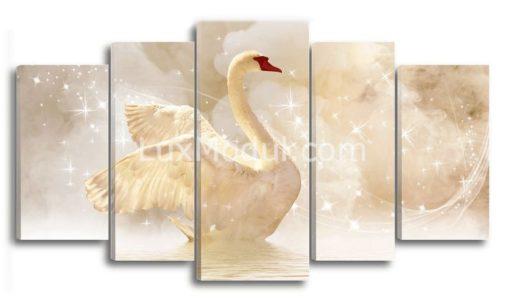 Модульная картина - лебедь