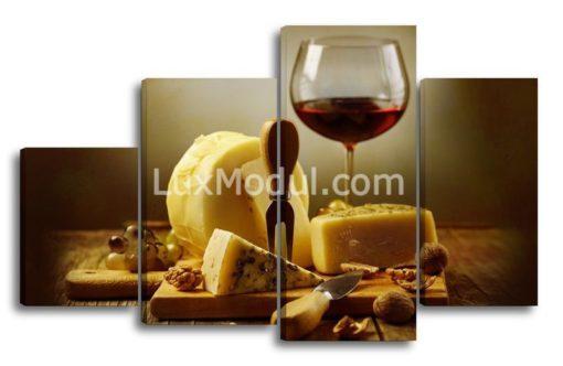 Полиптих модульная картина на кухню 4 части натюрморт сыр и вино фото