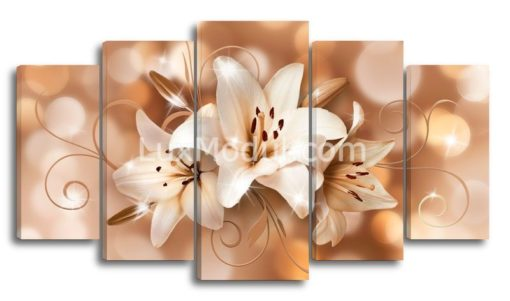 Три-лилии-карамельные-оттенки-(89х160см)