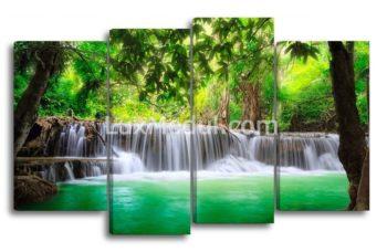 Модульная картина без часов из серии дикая природа «Водопад в джунглях» 4 части - Полиптих