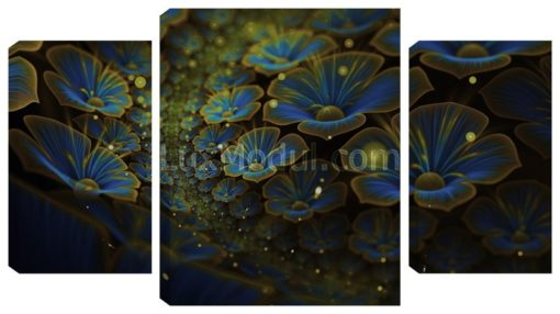 Модульная картина без часов триптих «распустившиеся цветы» 3 части тёмный оттенок – фото