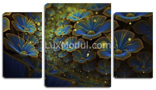 Модульная картина без часов триптих «распустившиеся цветы» 3 части – фото